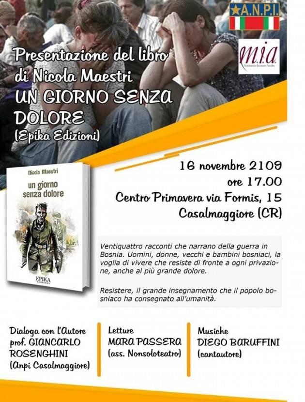 Casalmaggiore Presentazione libro 'Un giorno senza dolore' di Nicola Maestri