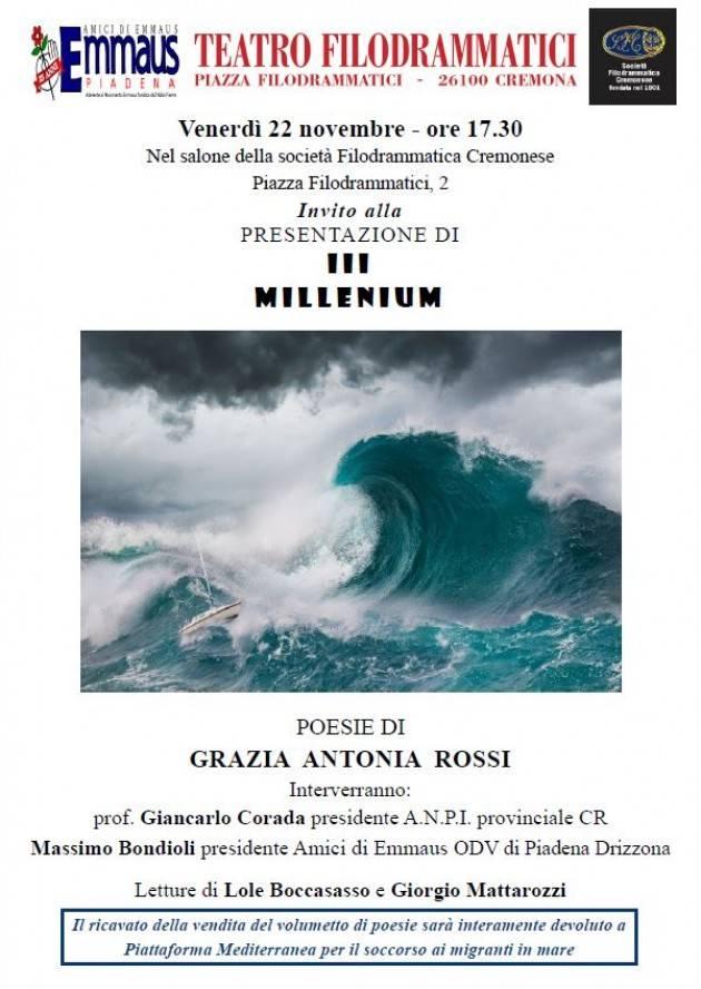 Emmaus a Cremona presenta la raccolta poetica di Grazia Antonia Rossi 'III Millenium'
