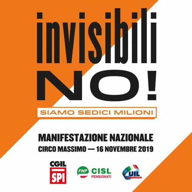 SPI-CGIL La protesta 'Invisibili no' , il giorno dei pensionati Oggi 16 novembre a Roma