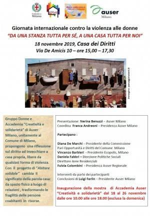A Milano incontro 'DA UNA STANZA TUTTA PER SÉ, A UNA CASA TUTTA PER NOI' 18 novembre 2019