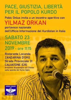 Yilmaz Orkan, Portavoce dei Kurdi in Italia, SABATO 23 alla Zanzarina d'Oro di Calvatone