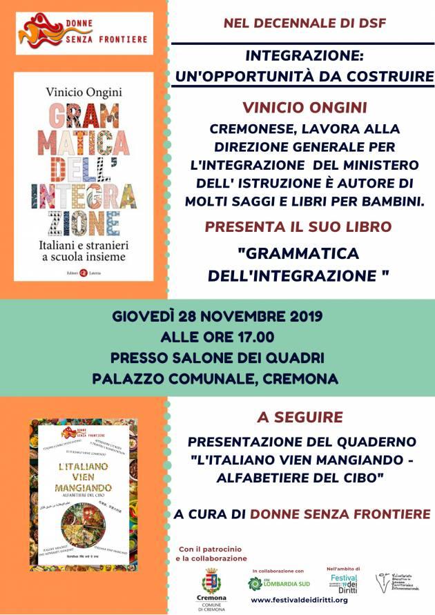 """Giovedì 28 novembre la presentazione del libro """"Grammatica dell'integrazione"""" di Vinicio Ongini"""