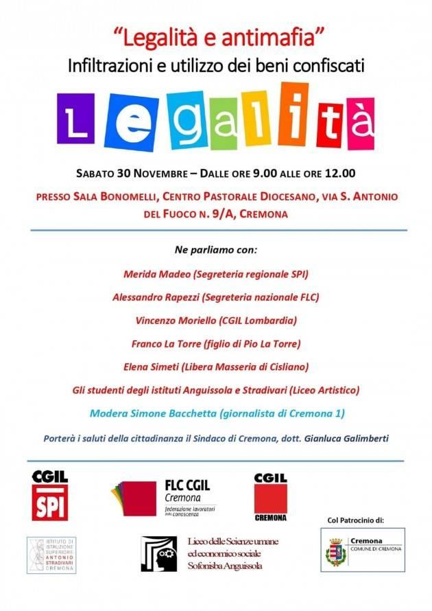 Iniziativa sulla legalità a Cremona sabato 30 novembre | Indetta dallo SPI-cgil