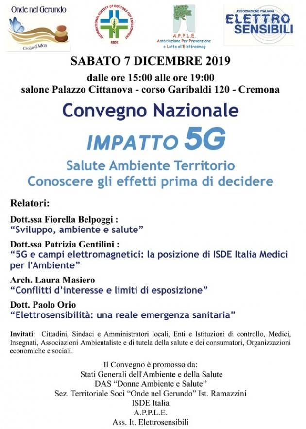 Tech Convegno Nazionale: 'Impatto 5G'   Sabato 7 dicembre ore 15  a Cremona