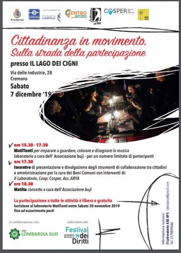 Cremona Sabato 7 dicembre l'iniziativa Cittadinanza in movimento. Sulla strada della partecipazione