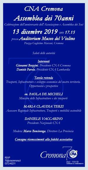 Assemblea dei 70 anni di CNA Cremona il prossimo  13 dicembre alle ore 17.15