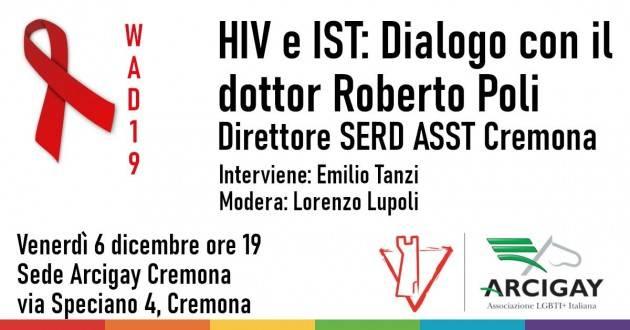 Venerdì 6 dicembre, HIV e IST: Arcigay Cremona dialoga con il Dr. Roberto Poli