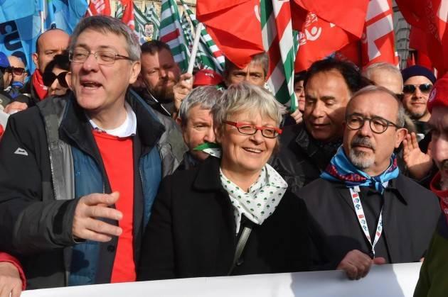 Lavoro  Manifestazione di Cgil, Cisl, Uil a Roma il 10 dicembre