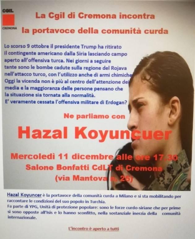 La Cgil di Cremona incontra rappresentante comunità  curda HAZAL  KOYUNCUER