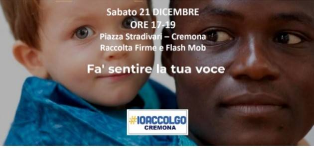 Cremona Partecipa a Io accolgo per dire no all'odio e all'esclusione e sì all'accoglienza in piazza il 21 dicembre