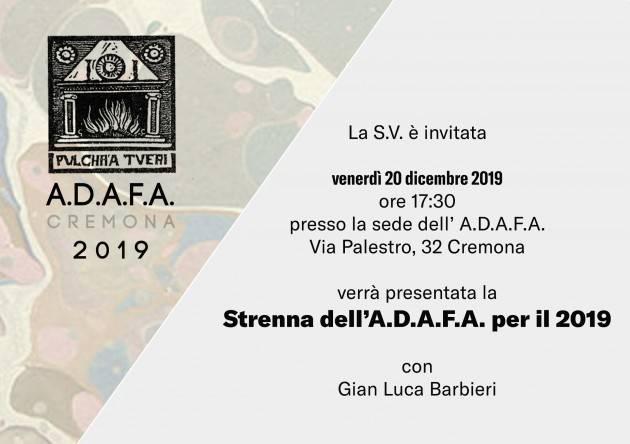 Cremona Strenna 2019 e Appuntamenti ADAFA il 20 e 21 dicembre