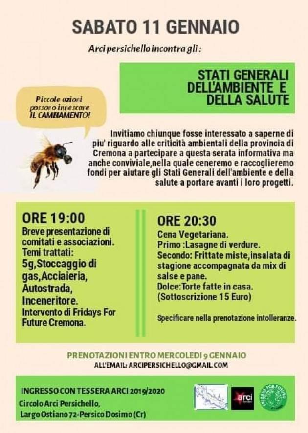 FFF Fridays For Future  (Cr) A cena con gli Stati Generali dell'ambiente di Cremona sabato 11 gennaio