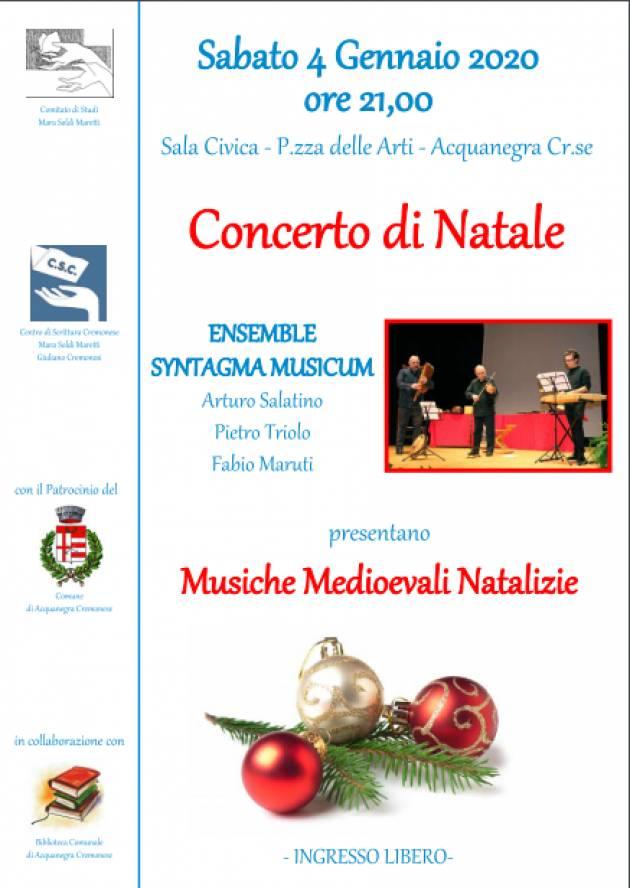 Concerto di Natale ad Acquanegra Cremonese il 4 gennaio