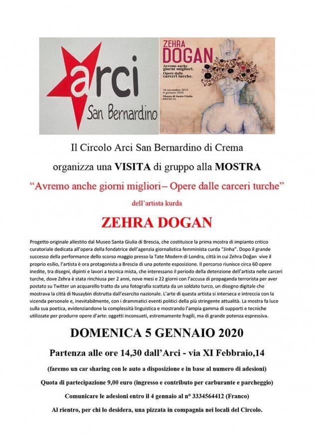 Arci San Bernardino di Crema visita a Brescia Mostra di Zehra Dogan il 5 gennaio