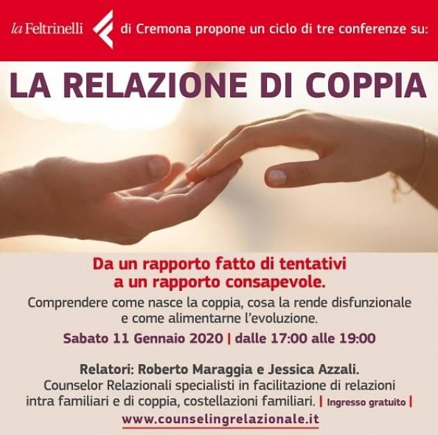 Cremona  Conferenza 'La relazione di coppia' sabato 11 gennaio alla Libreria Feltrinelli