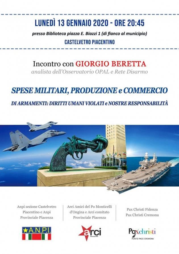 A CASTELVETRO PIACENTINO  incontro con Giorgio Beretta su Spese Militari e Diritti Umani Violati