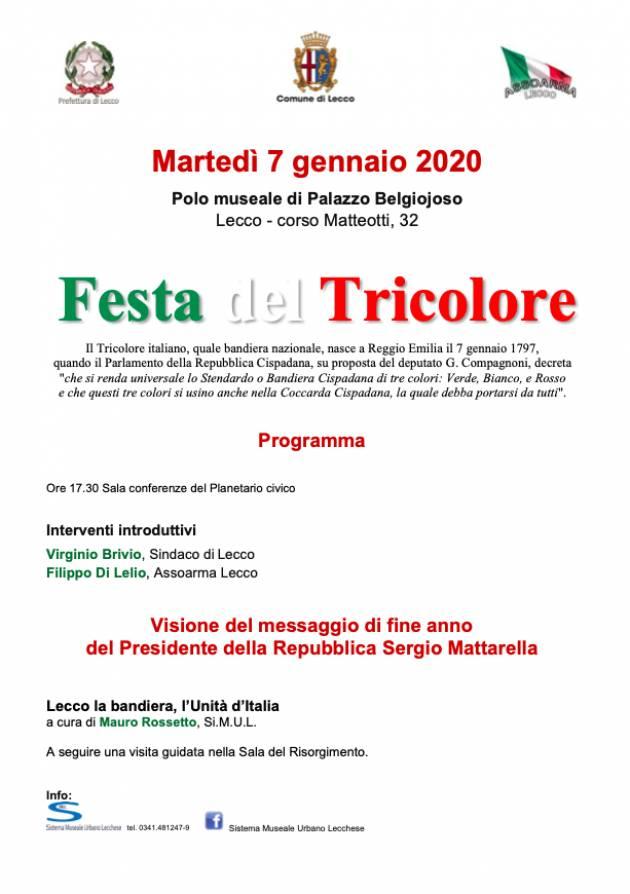 Lecco Martedì 7 gennaio al Palazzo Belgiojoso la Festa del Tricolore