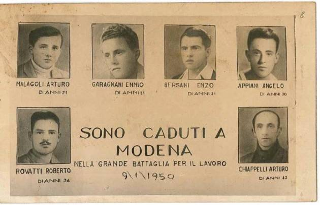 Cgil Storia  9 gennaio del 1950  Eccidio Fonderie Riunite, Modena non dimentica