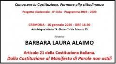Cremona Conoscere Costituzione  Incontro  il 16 gennaio con Laura Alaimo :Dall' articolo 21 al Manifesto della comunicazione non ostile'
