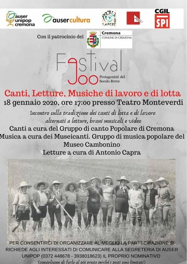 Spi Cgil Cremona Canti, Letture, Musiche di Lavoro e di Lotta