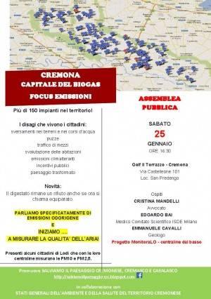 Cremona Capitale del Biogas  ASSEMBLEA PUBBLICA - FOCUS EMISSIONI il 25 gennaio