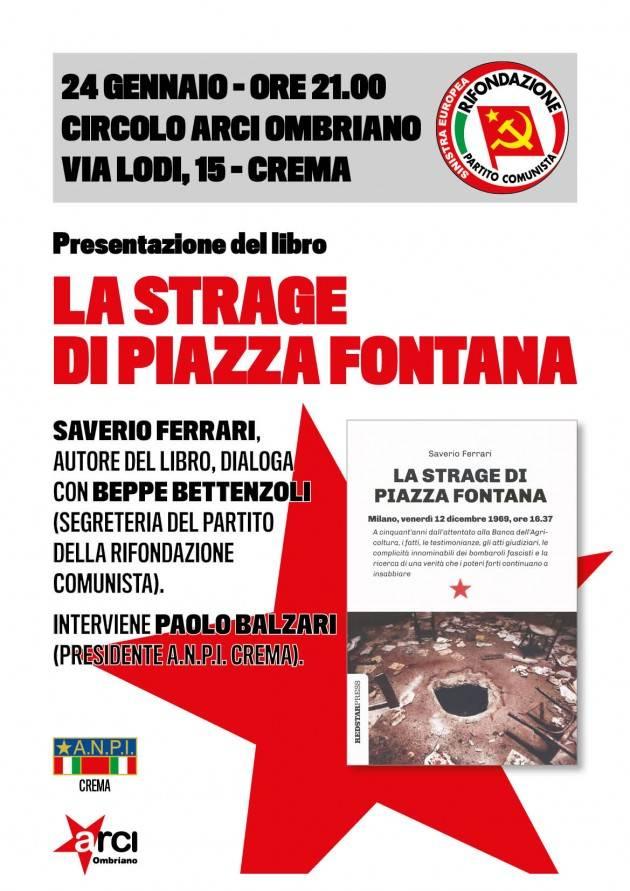Crema Stasera 24 gennaio incontro sulla strage di p.zza Fontana