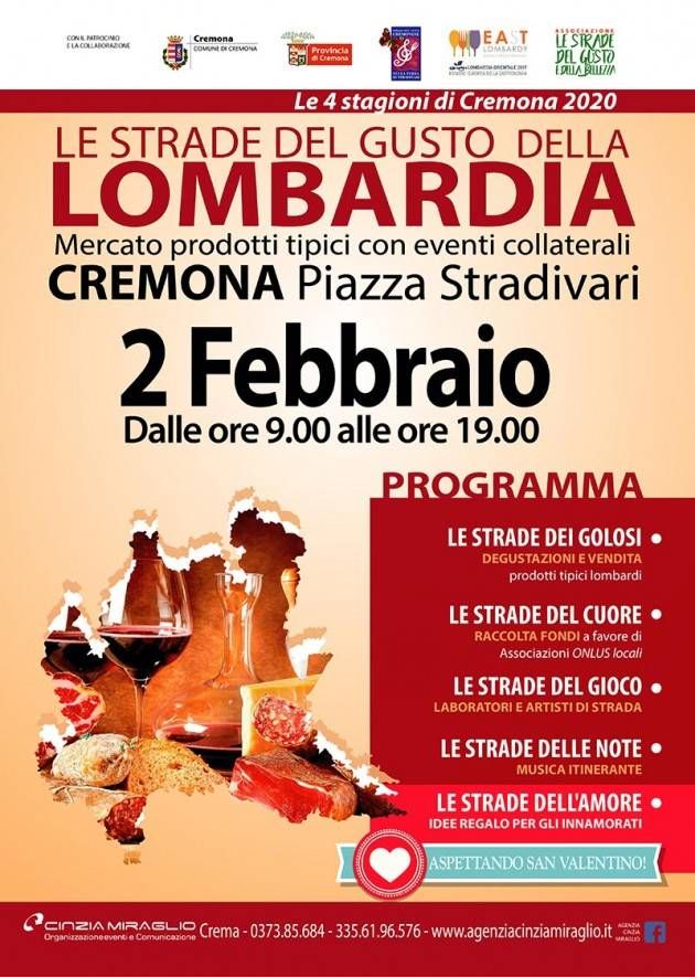 MERCATINO   le Strade del gusto della Lombardia2 FEBBRAIO 2020 – CREMONA - PIAZZA STRADIVARI