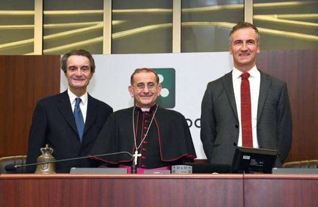 Lnews L'Arcivescovo di Milano Monsignor Delpini  in visita al Consiglio regionale Lombardo