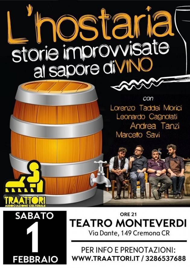 L'Hostaria - storie improvvisate dal sapore diVino- al Teatro Monteverdi con i TraAttori il 1° febbraio