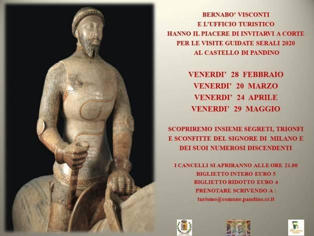 Visite serali castello di Pandino vedi calendario da febbraio a maggio 2020