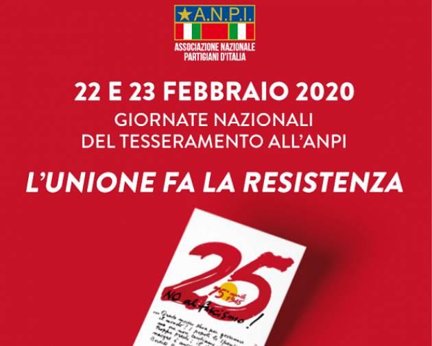 Giornate nazionali di tesseramento all'Anpi sabato 22 e domenica 23 febbraio 2020