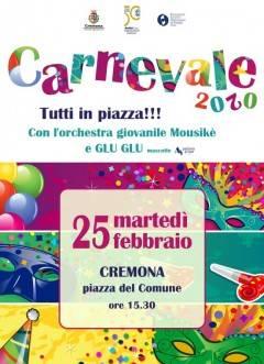 Cremona Carnevale, tutti in piazza del Comune con l'Orchestra giovanile Mousikè martedì 25 febbraio