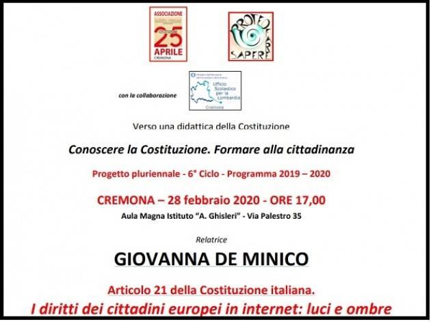 Ass. 25 aprile Cremona  Incontro con GIOVANNA DE MINICO su Articolo 21 della Costituzione Italiana.