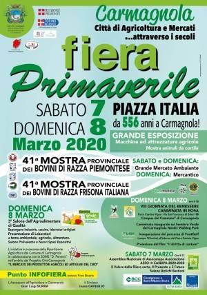 Ricco programma per la 556^ FIERA DI PRIMAVERA di Carmagnola IL 7 E 8 MARZO
