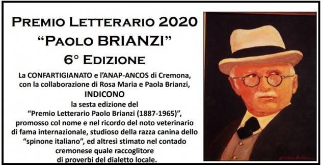 Confartigianato Cremona Premio Letterario 2020 'Paolo BRIANZI'  6° Edizione