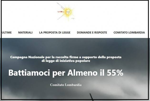Sito Lombardia per raccolta firme almeno 55%