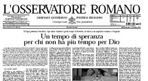 Il Vaticano sospende la stampa dell'Osservatore Romano