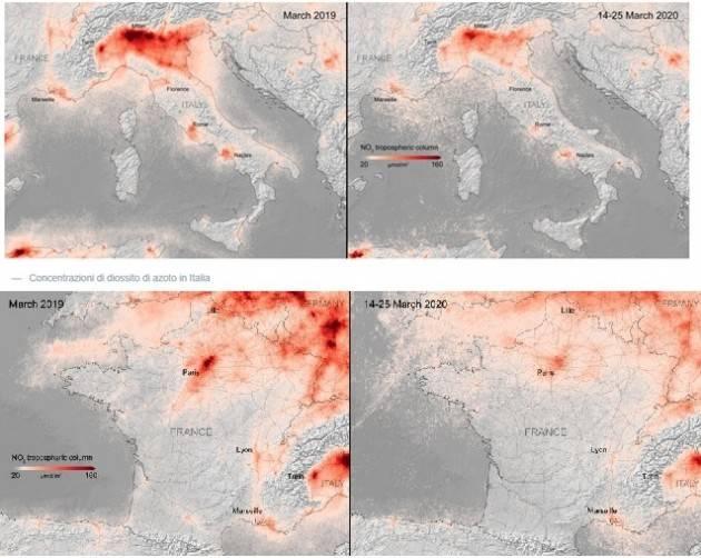 L'Europa vista dal satellite mostra la riduzione dell'inquinamento