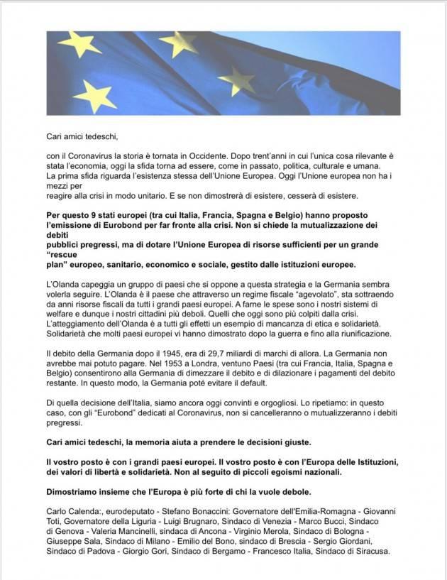 La lettera dei politici italiani contro l'Olanda ''priva di etica e solidarietà''