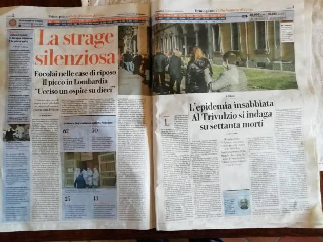 Coronavirus GAD LERNER  su Repubblica Al Pat (Pio Albergo Trivulzio) di Milano si indaga su 70 morti.