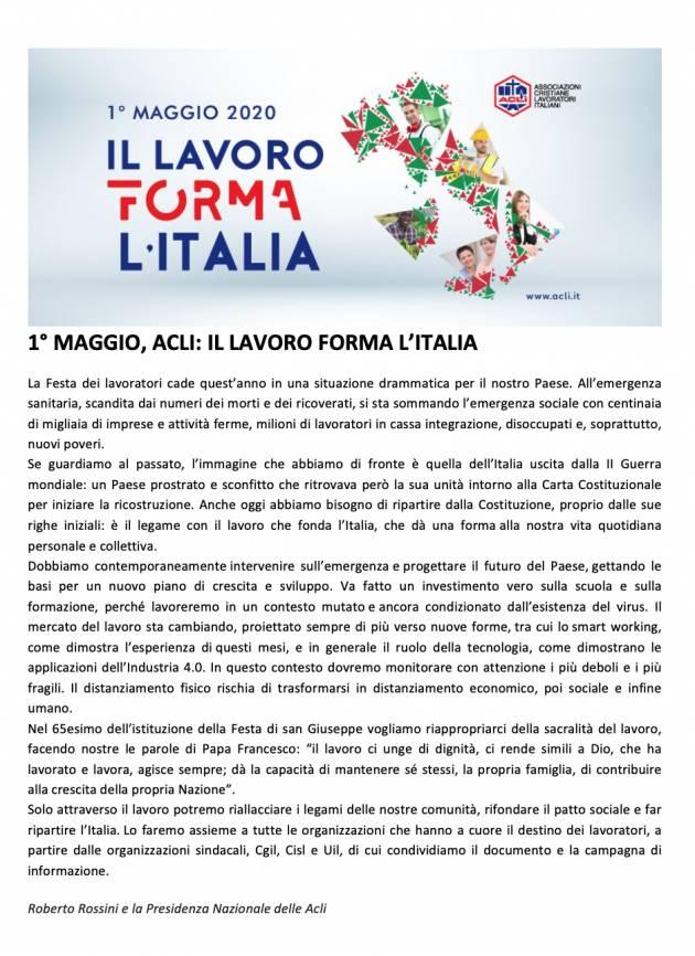 Acli. 1 Maggio, il lavoro forma l'Italia