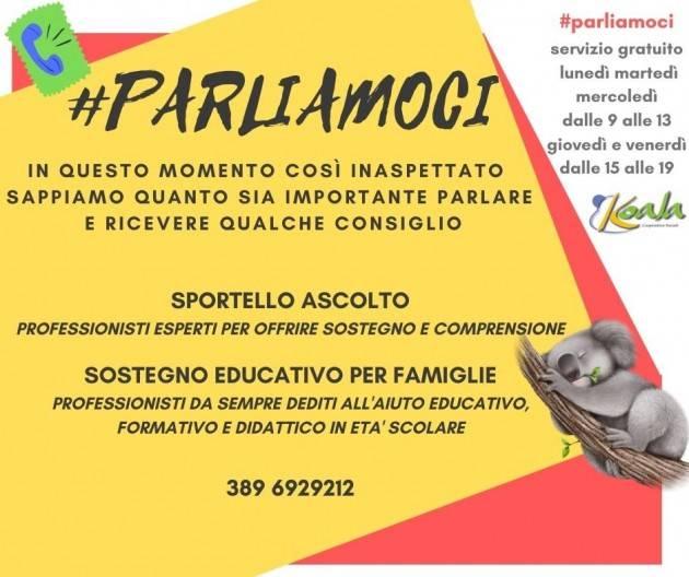 Crema Coronavirus Koala Società Cooperativa Sociale Onlus propone  servizio d'ascolto gratuito #parliamoci