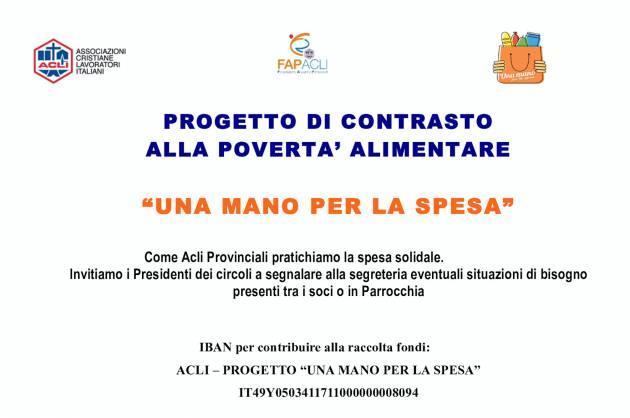 """Le Acli provinciali aderiscono al progetto """"UNA MANO PER LA SPESA"""""""