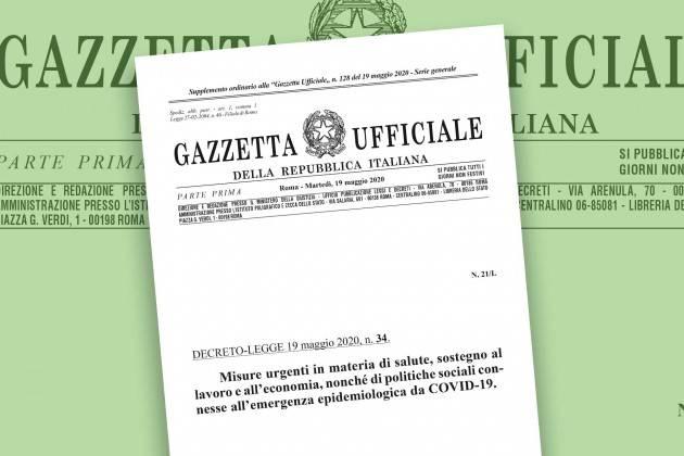 Decreto rilancio pubblicato in Gazzetta Ufficiale. Il testo della relazione di accompagnamento