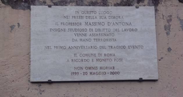 Roma, 20 maggio D'Antona: tenutasi commemorazione giuslavorista con Landini (Cgil)