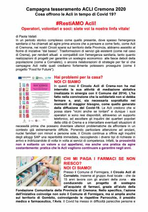 ACLI Cremona:  Campagna tesseramento 2020