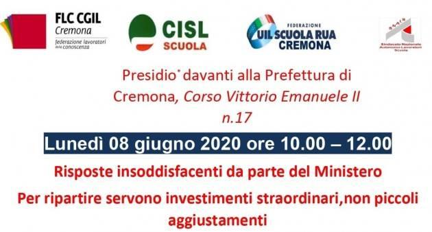 Sciopero Scuola 8 giugno confermato Presidio davanti Prefettura Cremona dalle 10 alle 12