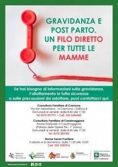 Cremona e Casal.giore NASCE NUOVO SERVIZIO SUPPORTO A DISTANZA PER  DONNE IN GRAVIDANZA E NEOMAMME.