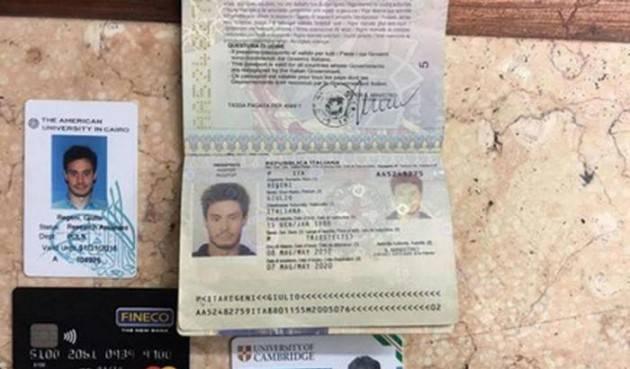 Egitto restituisce i documenti di Giulio Regeni
