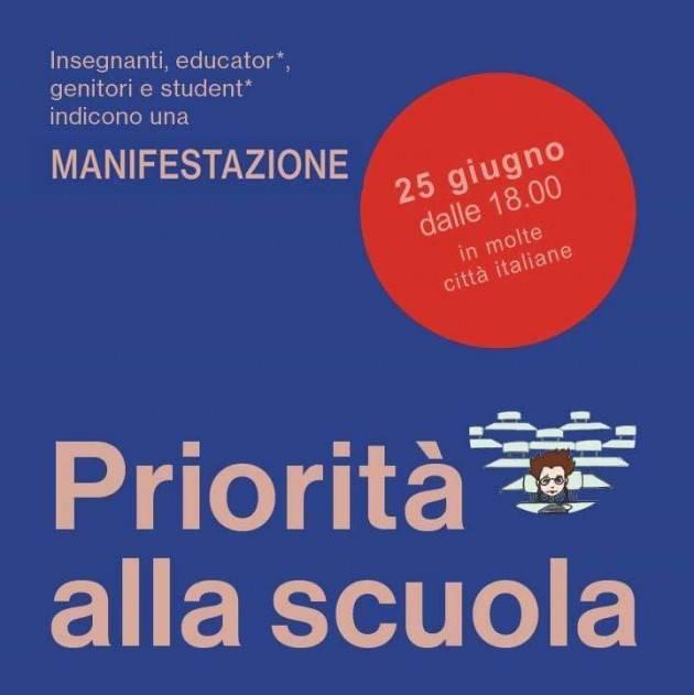 FLC CGIL sostiene e partecipa alle manifestazioni del 25 giugno indette dal comitato 'Priorità alla scuola'